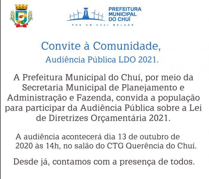 Convite Audiência Pública LDO 2021